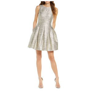 Vince Camuto 12 Metallic Jacquard Fit Flare Dress
